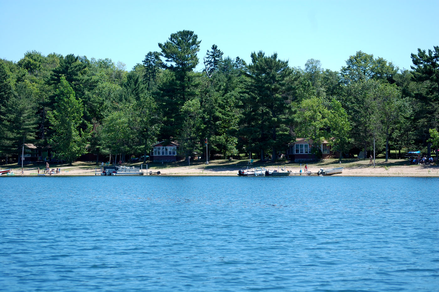 cabins and beach from water